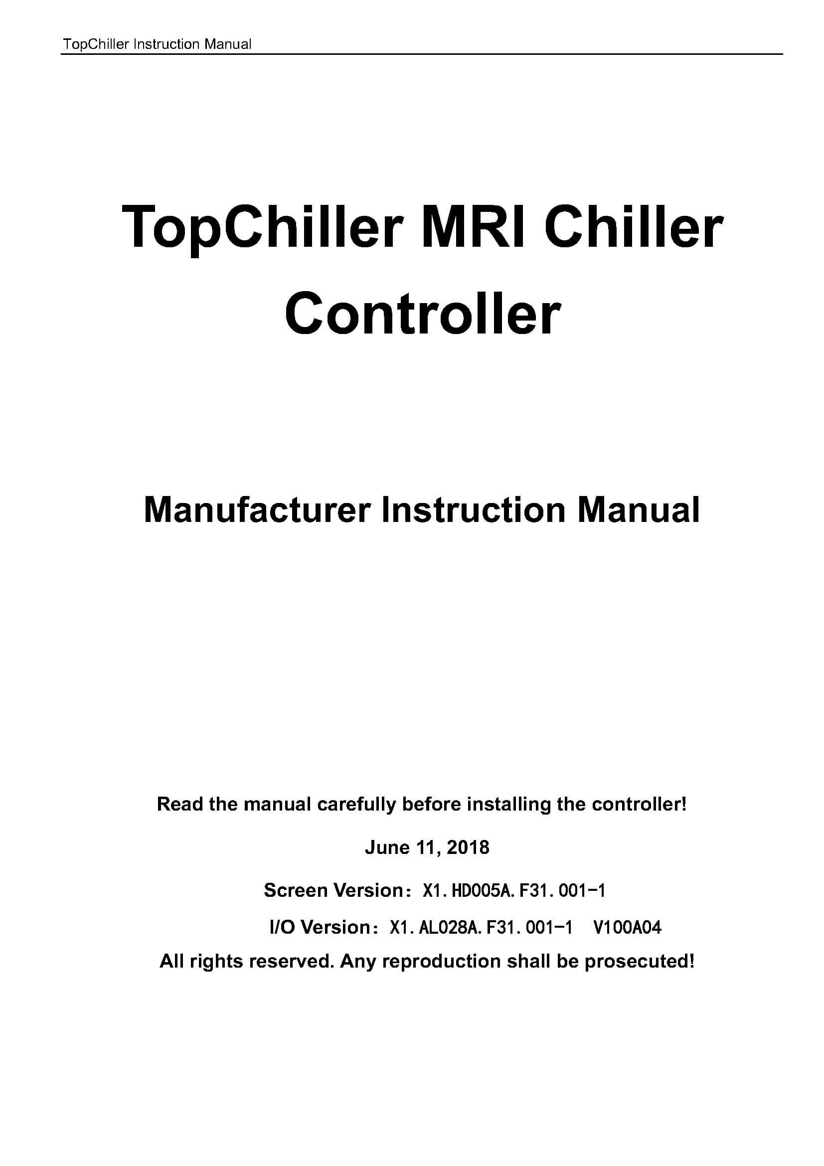 MRI Chiller Operation Manual
